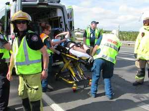 Man loaded into ambulance after traccic accident