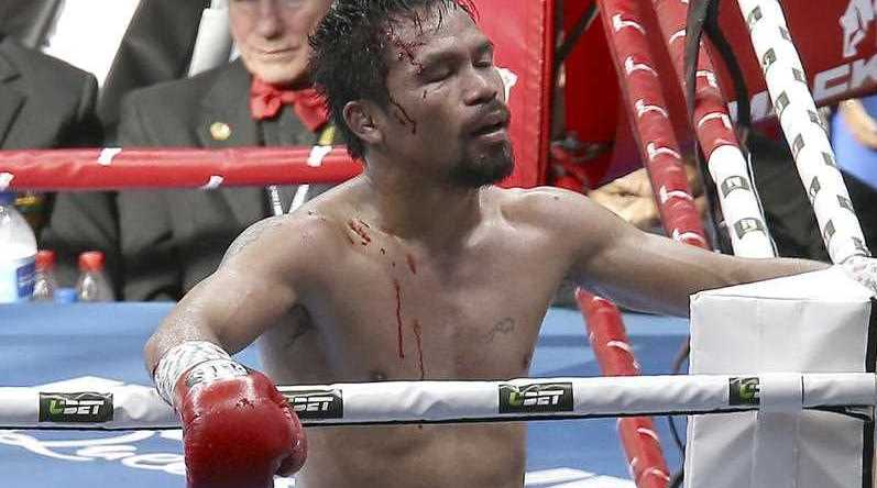 Manny Pacquiao of the Philippines reacts after his loss to Jeff Horn of Australia, during their WBO World Welterweight title fight in Brisbane, Australia, Sunday, July 2, 2017.