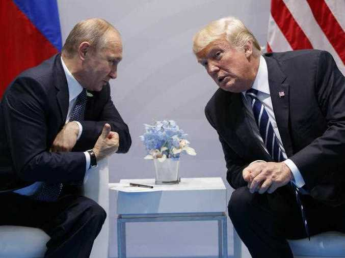 President Donald Trump speaks during a meeting with Russian President Vladimir Putin at the G20 Summit at the G20 Summit, Friday, July 7, 2017, in Hamburg.