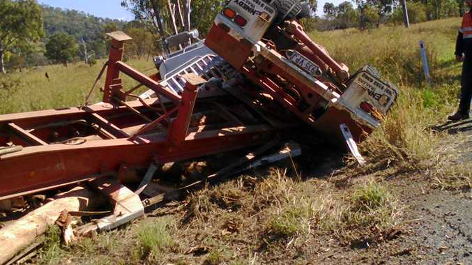 A Corbet Group logging truck rolled over just off Gladstone Monto Rd on Thursday morning.