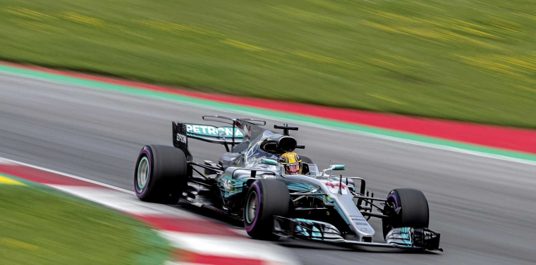 British Formula 1 driver Lewis Hamilton of Mercedes in action during the second practice session in Austria.