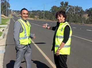 Toowoomba Region councillors James O'Shea and Carol Taylor at the site of the Boundary St upgrade.