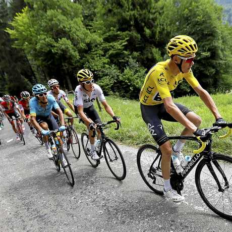 Chris Froome in action during the 8th stage of the 104th edition of the Tour de France between Dole and Station des Rousses,