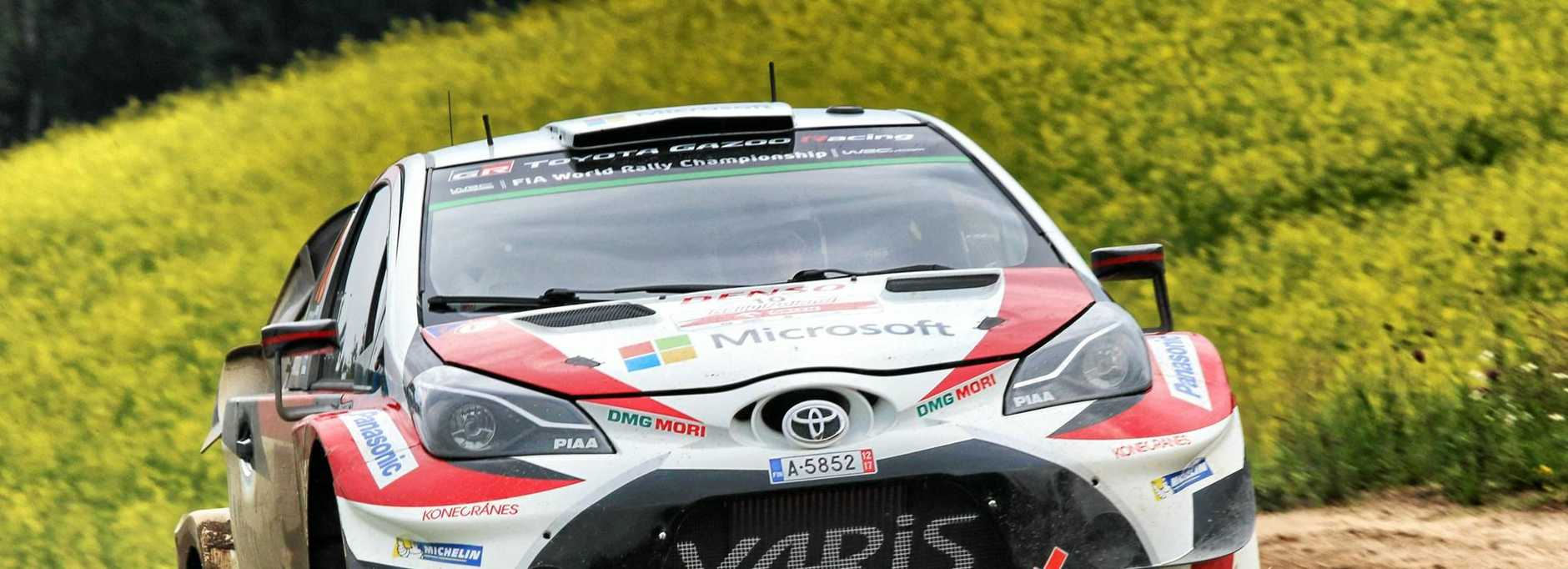 The Toyota Yaris FIA World Rally Championship car in action at WRC Poland.