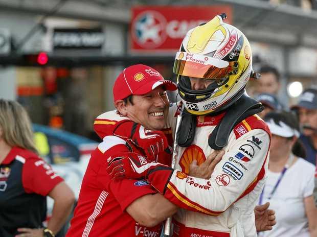 WINNING FEELING: DJR Team Penske driver Scott McLaughlin celebrates winning race on in Townsville.