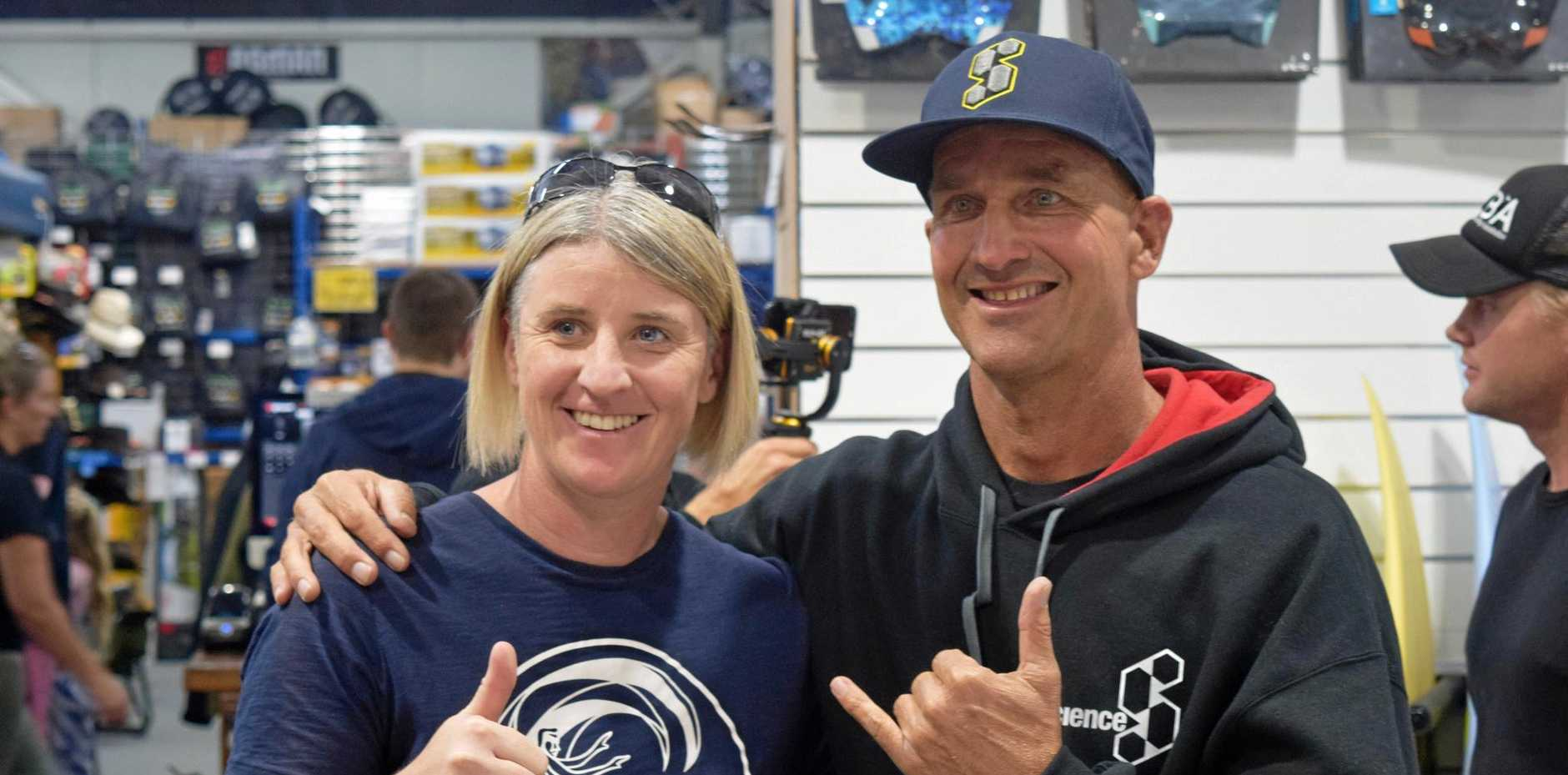 SURF LEGEND: Nine-time world bodyboarding champion and big wave body surfer Mike Stewart meets fans at Coffs Harbour's Outdoor World on Saturday.