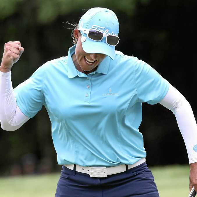 CHAMPION: Katherine Kirk reacts after sinking the winning putt on the 18th hole during the Thornberry Creek LPGA Classic golf tournament in Wisconsin.