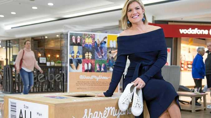 GOOD CAUSE: Sarah Harris, co-host of Network Ten's Studio 10 and Smith Family ambassador, is asking customers to look in their wardrobes to find a pair of shoes they can donate for a good cause at Kawana Shoppingworld in July.