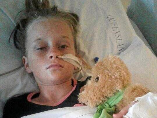 STROKE FIGHTER: Jade Carney, 11, is now at a Brisbane where she is undergoing rehabilitation after she had a stroke at school.