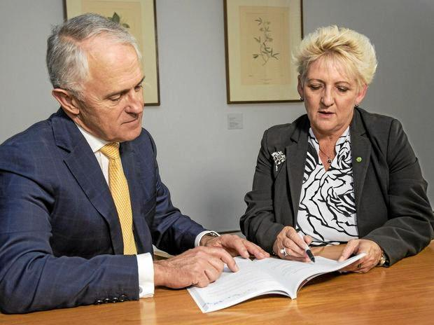 Prime Minister Malcolm Turnbull and Federal Member for Capricornia Michelle Landry discuss a potential levee for Rockhampton earlier this year.