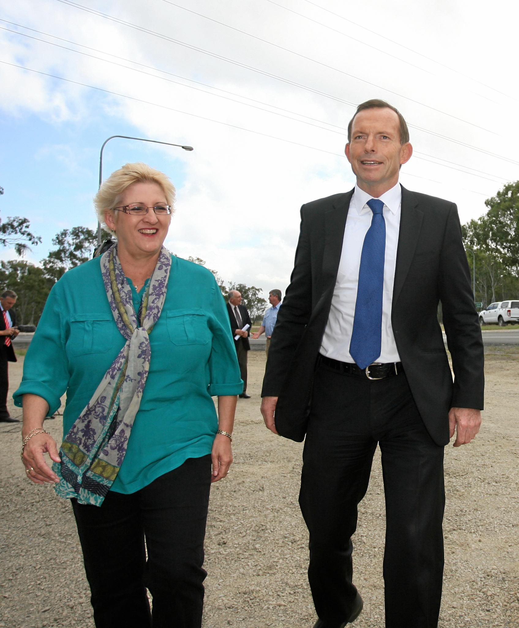 Local LNP candidate Michelle Landry and Opposition leader Tony Abbott in Rockhampton for an announcement on upgrading the Bruce Highway.   Photo: Chris Ison / The Morning Bulletin