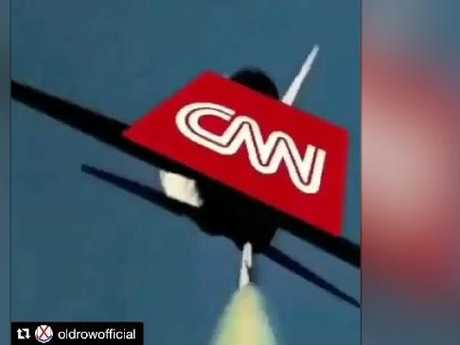 A missile from Trump's jet about to destroy the CNN jet.