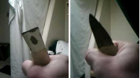 A video was uploaded to Youtube from a prisoner flaunting a knife and boasting about his drugs stash. risoner. Picture: Youtube