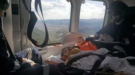 Rhys Hammerstein is cared for by a LifeFlight crew.