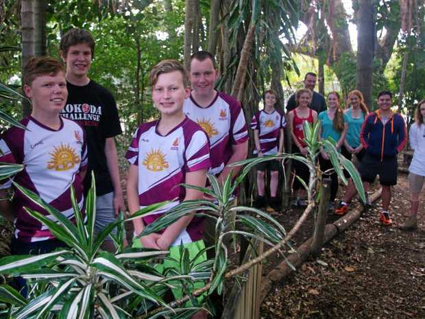 Jack Holaj, Sean Collins, Lachlan Lewer, Zane Hall and their team mates have a long walk ahead of them during the Kokoda Challenge.