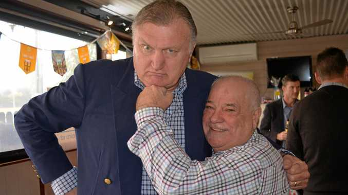 LEGEND: Boxing icon Joe Bugner, with the Withcott Hotel owner Neil Simpson, was guest speaker at the Famous Mud Crab Lunch, which raised almost $9000 for the AEIOU Foundation in support of children with autism.