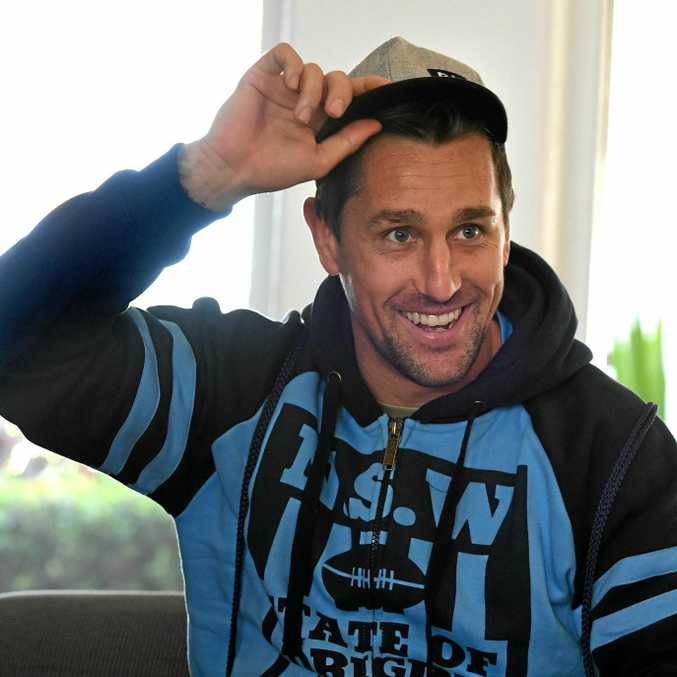 THE HUNTER: Mitchell Pearce relaxes in Blues camp at Kingscliff.