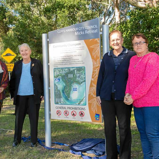 COMMUNITY CHAMPION: Mike Stanley recognised at Mick's Retreat Sawtell. Daughters Kim Andrews, Robin Chaloner and Sue Rossiter with their mother and wife of Mick, Thelma Stanley.