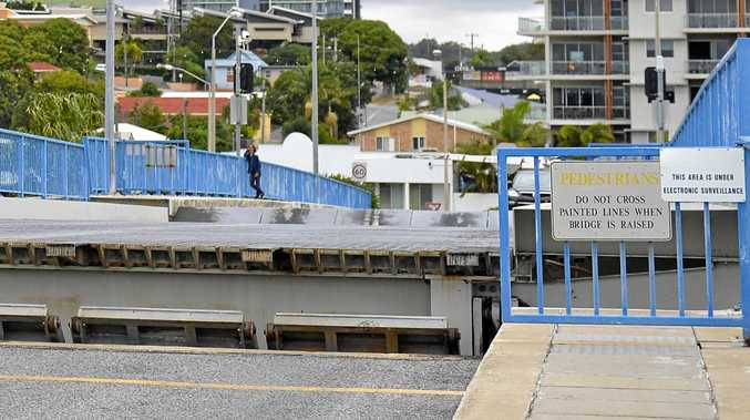 GOING NOWHERE: The Matthew Flinders bridge stuck in position on Sunday afternoon.