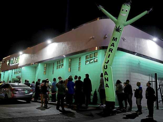 Customers line up at the NuLeaf marijuana dispensary in Las Vegas, Nevada.