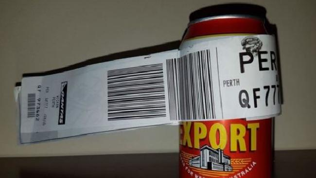The beverage travelled from Melbourne to Perth, arriving safe and sound at baggage claim.Source:Supplied