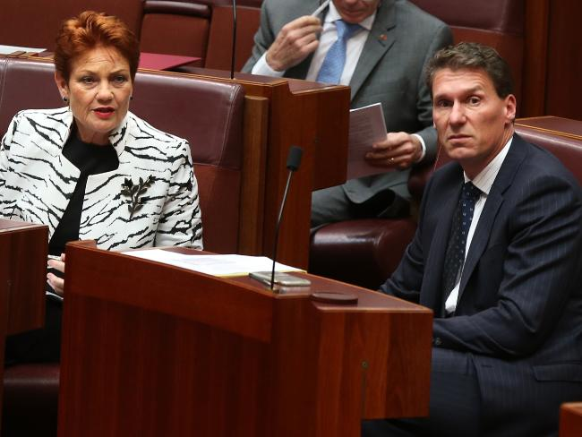 Senator Cory Bernardi is attempting to fight any plans to progress a government decision on same-sex marriage. Pictured here with One Nation leader Pauline Hanson.