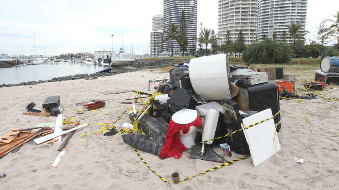 This junk has washed up from a sunken boat at Runaway Bay.