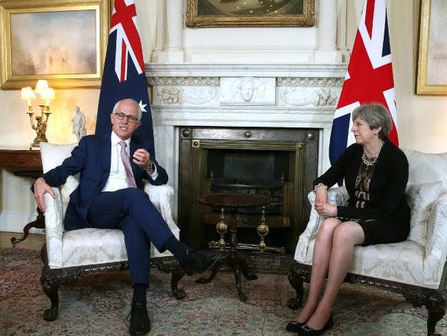 PM Malcolm Turnbull with British PM Theresa May in a meeting where they talked trade, security and North Korea.