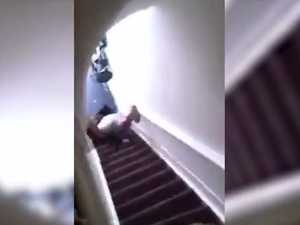 Woman pushed down stairs
