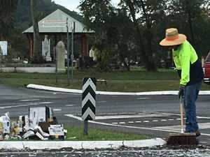 Truck driver loses precious cargo at Cairns roundabout