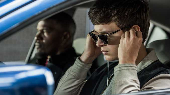 Jamie Foxx and Ansel Elgort in a scene from the movie Baby Driver.