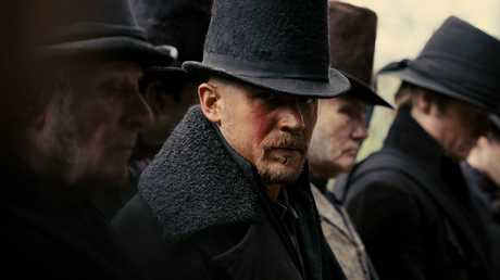 Tom Hardy in a scene from the TV series Taboo. Supplied by BBC Australia.