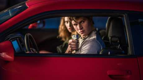 Ansel Elgort and Lily James in a scene from the movie Baby Driver.