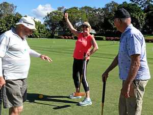 GAME ON: Ann Rickard enjoys a game of croquet..