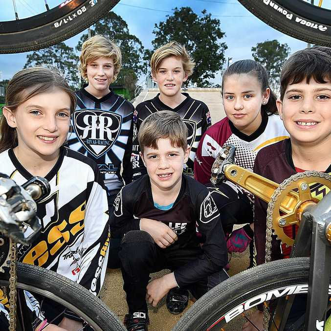 WORLD CHAMPS: 2017 World Championship Riders from Maryborough BMX Club, Front from left - Teya Rufus (11 girls), Aston Cadell (8 boys) and Cadell Sheppard (10 boys). Back from left, Mackenzie Allan (14 boys), Campbell Allan (12 boys) and Alyssa Cherrie (13 girls).