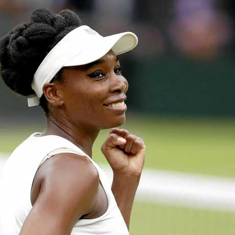 Venus Williams celebrates after beating Jelena Ostapenko in their quarter-final.