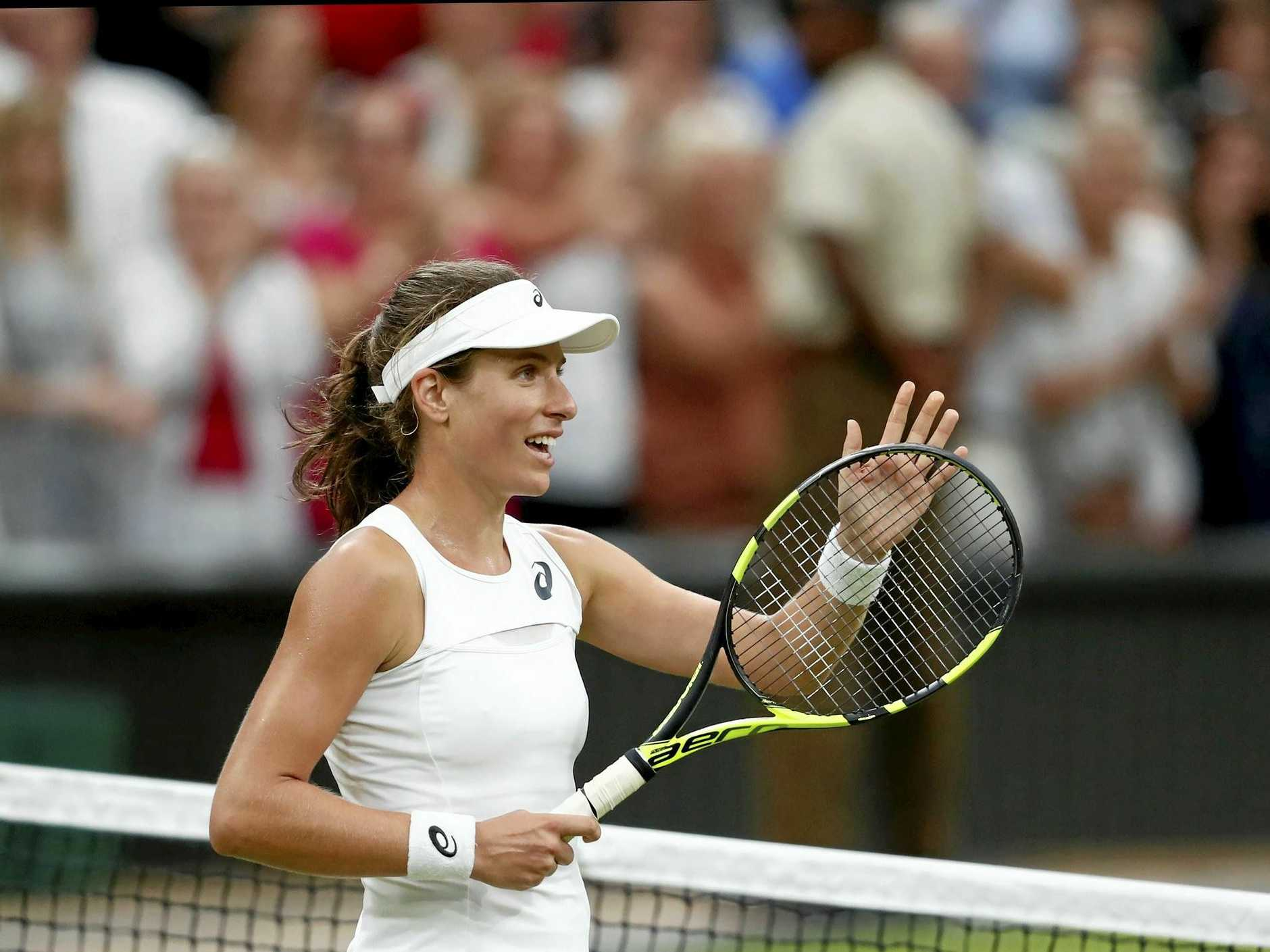 epa06081806 Johanna Konta of Britain celebrates winning against Simona Halep of Romania during their quarter final match for the Wimbledon Championships at the All England Lawn Tennis Club, in London, Britain, 11 July 2017.  EPA/NIC BOTHMA EDITORIAL USE ONLY/NO COMMERCIAL SALES