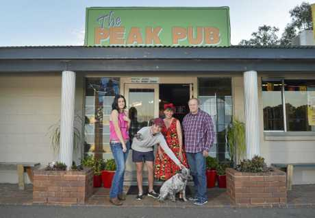 The Peak Pub are holding a fundraiser for Bruklan Marshall. Lily Williams, Brock Marshall, Ruby the dog, Tess Preston and Col Preston.