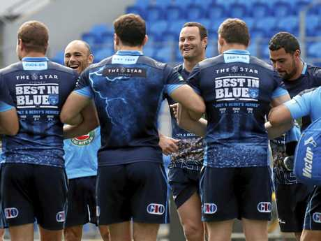 Skipper Boyd Cordner and teammates during a Blues training session ahead of Origin III.