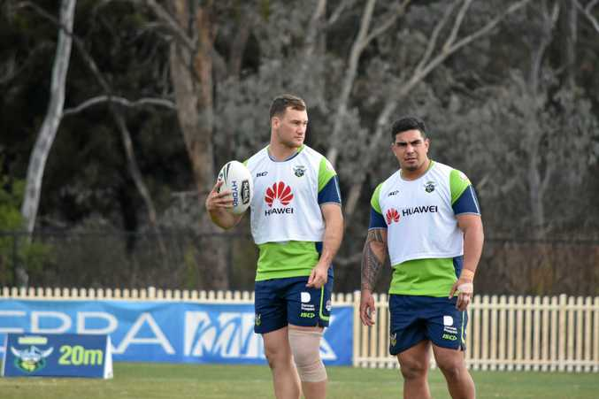 SETTLED: Former CQ Capras forward and Calliope Roosters junior Bill Cullen with ball in hand at Canberra Raiders training. Cullen will line up for NSW Cup affiliate side Mounties against the North Sydney Bears this weekend.