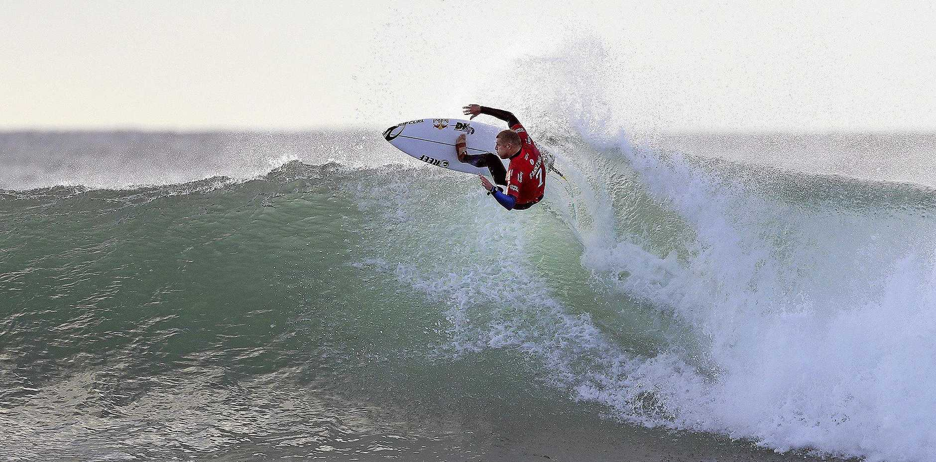 Mick Fanning rips into a wave at Jeffreys Bay in South Africa, the venue for the J-Bay Open.