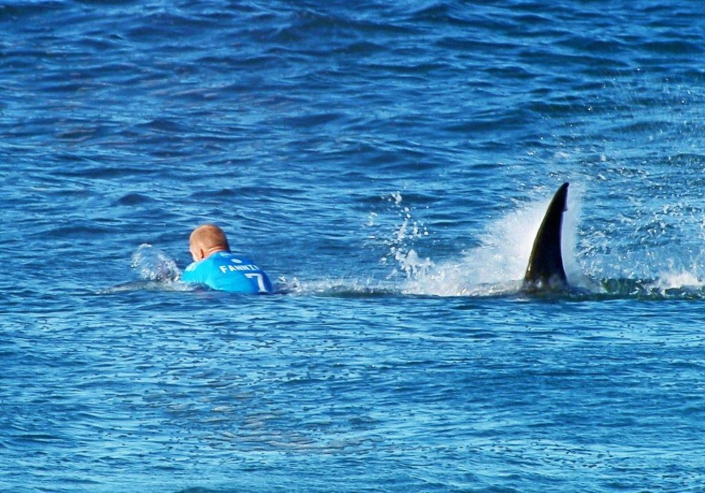 In this image made available by the World Surf League, Australian surfer Mick Fanning is pursued by a shark, in Jeffrey's Bay, South Africa,  Sunday, July 19, 2015. Knocked off his board by an attacking shark, a surfer punched the creature during the televised finals of a world surfing competition in South Africa before escaping. Fanning was attacked by a shark on Sunday during the JBay Open but escaped without injuries. (W orld Surf League via AP)  MANDATORY CREDIT   FOR ALL ONLINE USE PLEASE INCLUDE A LINK TO WORLDSURFLEAGUE.COM.
