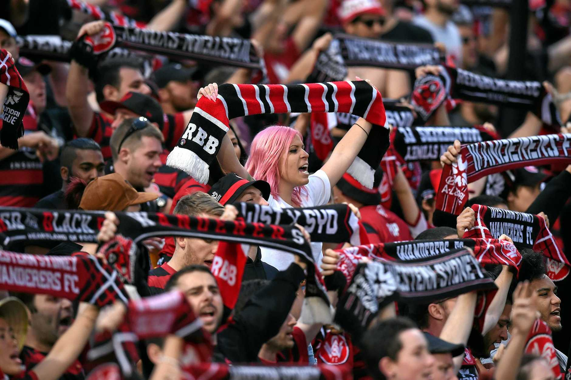 Wanderers supporters from the Red and Black Bloc in 2015.