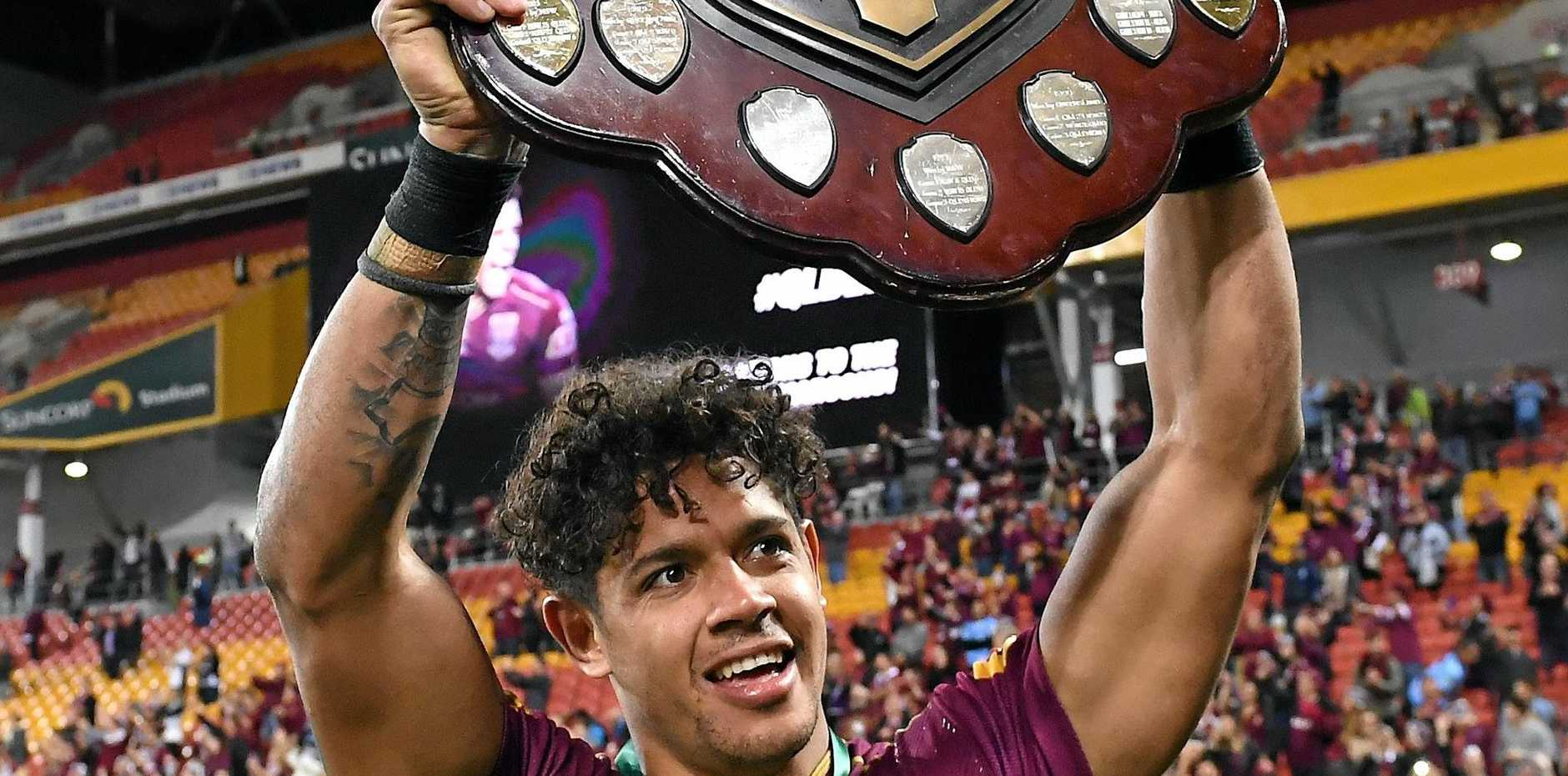 Dane Gagai celebrates the Maroons win.