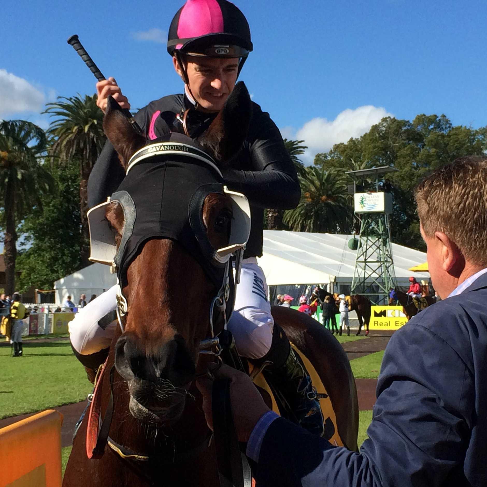 Jockey Josh Adams returns to scale after winning the Rural Plate on board Avroson for trainer Brett Cavanough/