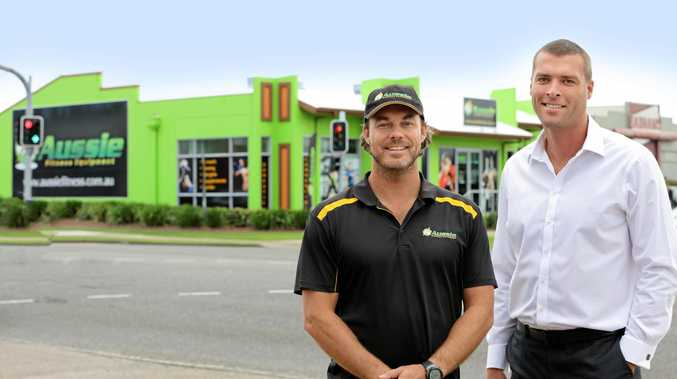 SHAPE WE'RE IN: Aussie Fitness Equipment owner Mark Peacock with CBRE's Ryan Parry at 1 Kayleigh Drive.