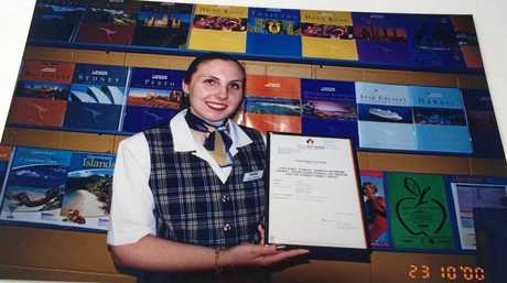 Leisa back in the early days in the tartan uniform.