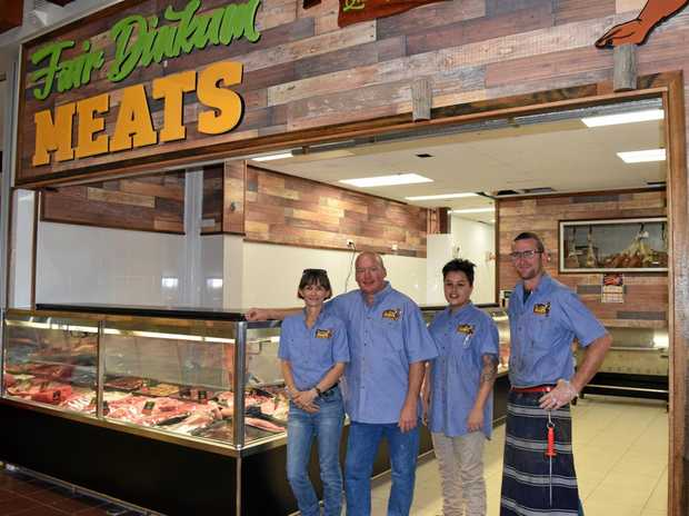 NEW STORE: Tracey and Jason O'Loughlin with  staff Demi Clarke and Brett Knickel outside the Emerald Fair Dinkum Meats store.