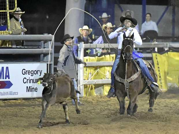 OUTSTANDING: Leanne Caban works hard in front of her home crowd at the Emerald Rodeo.
