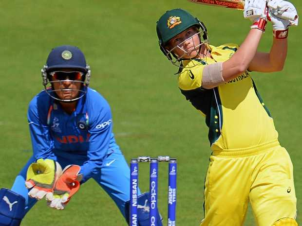 Meg Lanning of Australia plays a shot during the ICC Women's World Cup.